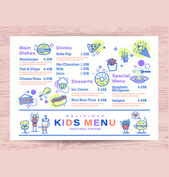 Cute colorful kids meal menu place mat design vector