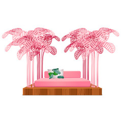 Cute pink color bed with decor form a frame of vector