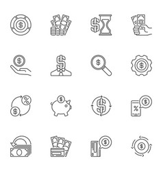 dollar money concept icons or signs in thin vector image