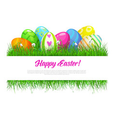 Easter grass frame with eggs and spring flowers vector