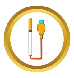 Electronic cigarette with USB cable icon vector