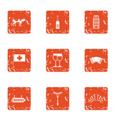 Euro field icons set grunge style vector