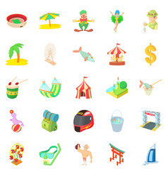 Experienced camper icons set cartoon style vector