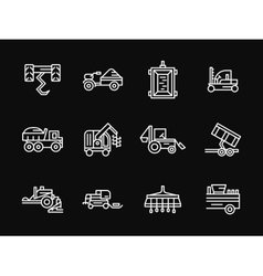 Farming machines white line design icons vector image