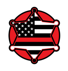 Firefighter support star and flag emblem vector