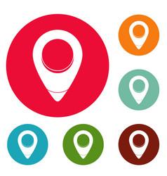 fixation pin icons circle set vector image