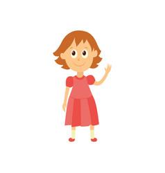 Flat cartoon girl pupil isolated vector