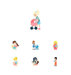 Flat icon mam set of perambulator parent kid and vector