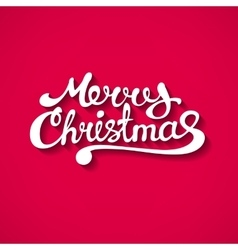 Flat style Merry Christmas text with shadow vector image