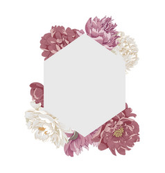 frame in form a rhombus with peony flowers vector image