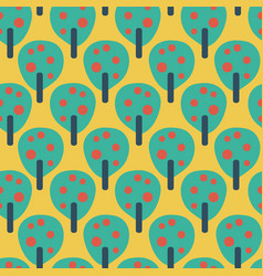 Fruit trees teal red blue yellow background vector