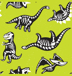 Funny cartoon background with fossil dinosaurs vector
