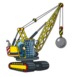 Funny wrecking ball truck with eyes vector