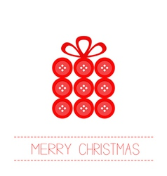 Gift box made from red buttons Christmas vector image