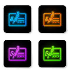 glowing neon signed document line icon isolated vector image