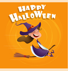 halloween flying little cartoon witch vector image