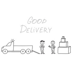 hand drawn delivery men with truck and boxes vector image