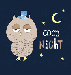 hand drawn owl in a hat with hand drawn lettering vector image