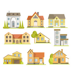 Houses and suburban residential buildings vector