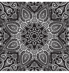 Lace background White on black Mandala vector image