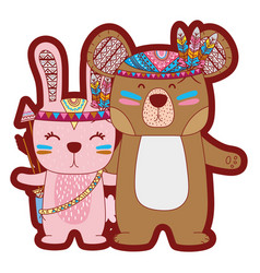 Line color rabbit and bear animals with feathers vector