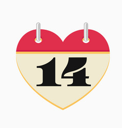 loose-leaf valentines day calendar icon vector image