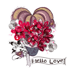 love card with air balloon created from flowers vector image