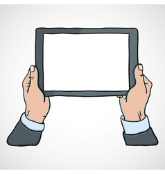 mans hands holding a tablet vector image vector image