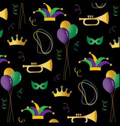 mardi gras pattern on black background vector image