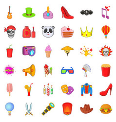 Masked ball icons set cartoon style vector