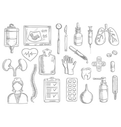 Medical sketch isolated icons vector