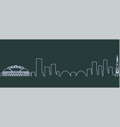 Milwaukee single line skyline vector