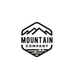 mountain beach sea lake vintage hipster retro logo vector image