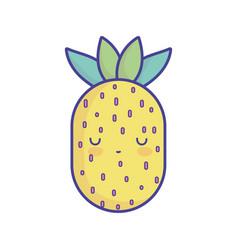 pineapple tropical fruit cartoon food cute flat vector image