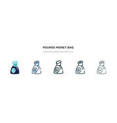 Pounds money bag icon in different style two vector