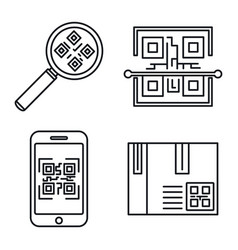 qr code element icons set outline style vector image