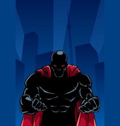 Raging superhero city silhouette vector