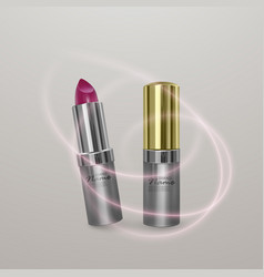 Realistic lipstick of bright cherry color 3d vector
