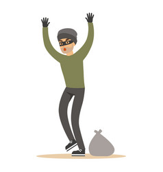 robber man in black mask holding hands up vector image