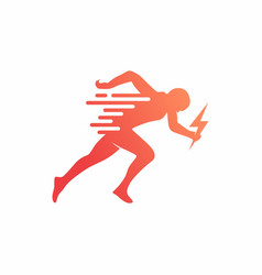Run sprint running man logo design vector