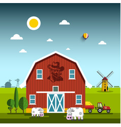 rural scene with cowboy on barn farm with cows vector image