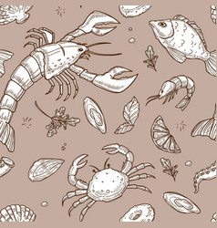 Seafood sketches inside seamless pattern on pastel vector