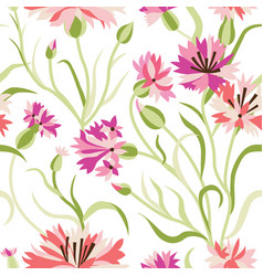 seamless floral pattern with blue corn flowers vector image