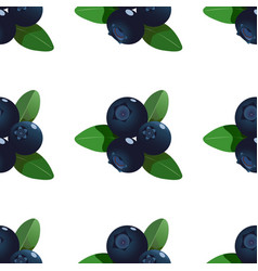 Seamless pattern with cartoon blueberries vector