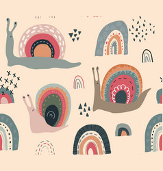 seamless pattern with cute funny rainbow vector image