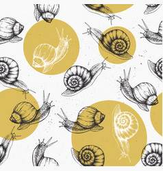 Seamless pattern with hand drawn snails vector