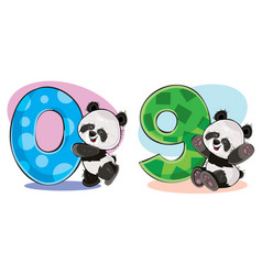 set cute bapanda bears with numbers vector image