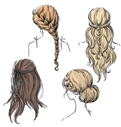 set of different hairstyles vector image