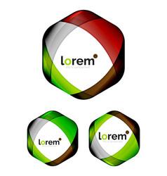 Set of geometric shape convergence logo design vector
