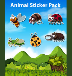 set of insect sticker vector image